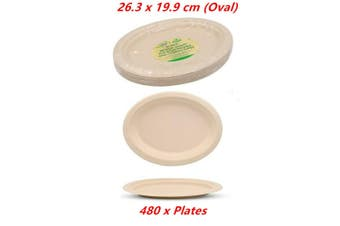 480 x Biodegradable Plates Oval Catering Eco Friendly Disposable Bamboo Bagasse