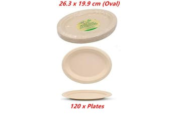 120 x Biodegradable Plates Oval Catering Eco Friendly Disposable Bamboo Bagasse
