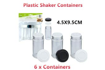 6 x Clear Plastic Shaker Container Screw Top Lid Pepper Salt 4.5X9.5CM BPA Free