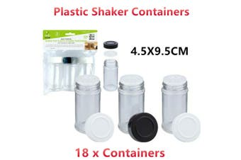 18 x Clear Plastic Shaker Container Screw Top Lid Pepper Salt 4.5X9.5CM BPA Free