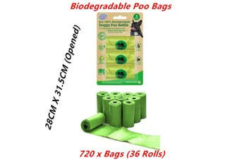 720 x Biodegradable Dog Poo Bags Eco Refill Roll Pet No Leak Disposable Waste Green