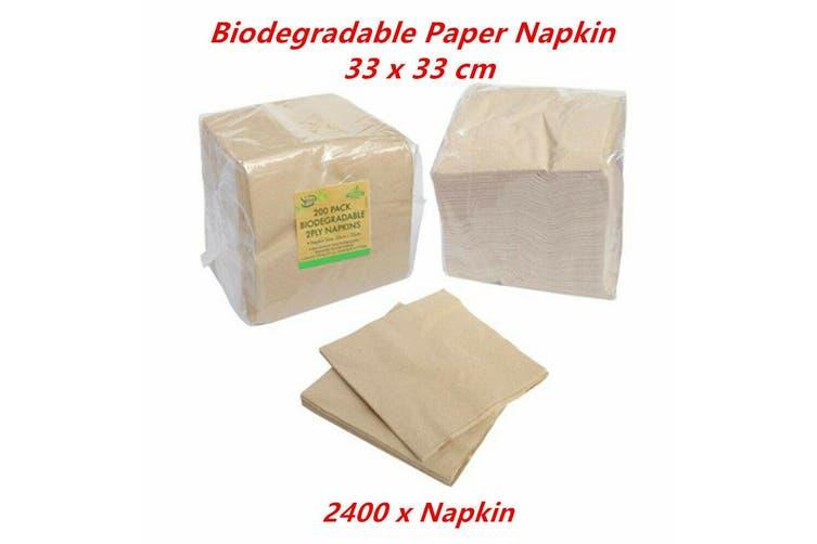 2400 x Biodegradable Paper Napkin Brown 2 Ply Eco Friendly Catering Serviette 33 x 33cm