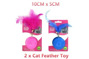 2x Cat Feather Teaser Toy 10CM Interactive Activity Kitty Pet Play Bell BPA Free