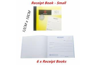 6 x Cash Receipt Books With Carbon Copy Paper Small Duplicate 50 Leaf Business