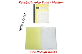 12 x Cash Receipt Invoice Books Medium Carbonless Duplicate 100 Sheets Business