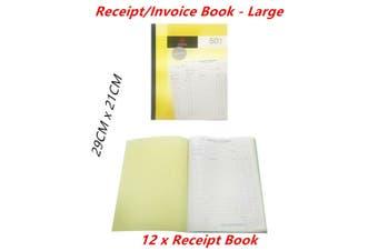 12 x Receipt Invoice Books Large Carbon Copy Duplicate 50 Sheet Leaf Business