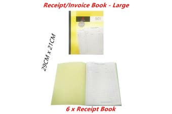 6 x Receipt Invoice Books Large Carbon Copy Duplicate 50 Sheet Leaf Business