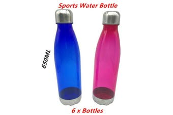 6 x Sports Water Bottle 650ML Stainless Steel Screw Top Lid BPA Free Transparent