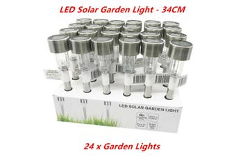 24 x LED Solar Garden Light 8 Hours Easy Install Outdoor Torch Lawn Landscape