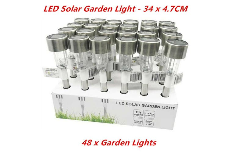 48 x LED Solar Garden Light 8 Hours Easy Install Outdoor Torch Lawn Landscape