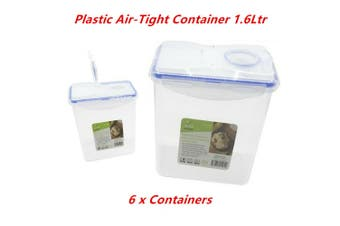 6 x Plastic Air Tight Dry Food Container 1.6L BPA Free Flip Lid Kitchen Storage