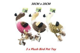 3 x Plush Bird Pet Toys Dog Chew Soft Non Toxic Doll Puppy Cat Training Teeth