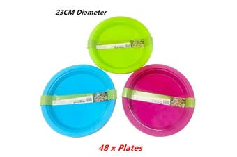 48 x Reusable Plastic Plate Kitchenware Party Round Food Travel Durable BPA Free