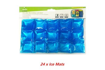 24 x Reusable Ice Mat Cooling Cold Storage Cooler Flexible Food Picnic Party Thermo