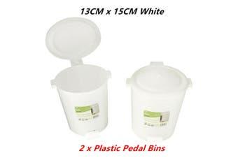 2 x Plastic Desktop Pedal Bins Small 13CMx15CM Office Desk Top Table Mini Waste