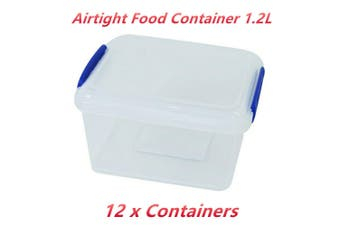 12 x Airtight 1.2 L Food Storage Container Clear Plastic Clip Lock Lunch Preparation