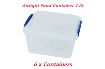 6 x Airtight 1.2 L Food Storage Container Clear Plastic Clip Lock Lunch Preparation