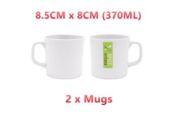 2 x 370ML White Melamine Drinking Mug Coffee Tea Cup Juice Handle Drinkware Party