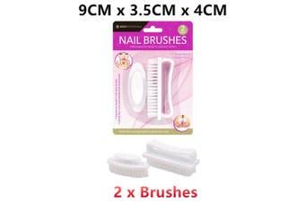 White Pedicure Nail Brush Cleaning Soft Nylon Scrubbing Ergonomic Trim Manicure