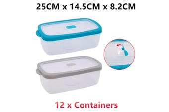 12 x Plastic Food Container Microwave Safe Air Pocket Vent Lid Lunchbox Storage Clear
