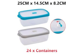24 x Plastic Food Container Microwave Safe Air Pocket Vent Lid Lunchbox Storage Clear