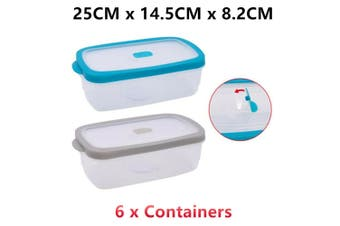 6 x Plastic Food Container Microwave Safe Air Pocket Vent Lid Lunchbox Storage Clear