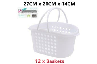 12 x Hand Carry Plastic Basket Handles White 27x20x14CM Storage Handy Laundry