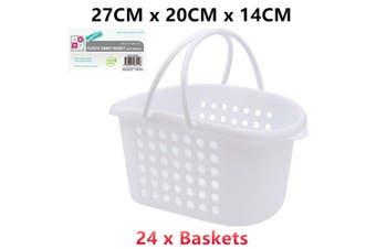 24 x Hand Carry Plastic Basket Handles White 27x20x14CM Storage Handy Laundry
