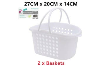 2 x Hand Carry Plastic Basket Handles White 27x20x14CM Storage Handy Laundry