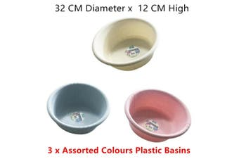 3 x Plastic Round Basin 32CM Washing Cleaning Cooking Container Basket Tub Water