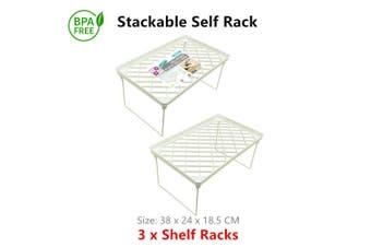 3 x Stackable Plastic Shelf Racks Food Storage Organiser Pantry Bathroom Kitchen