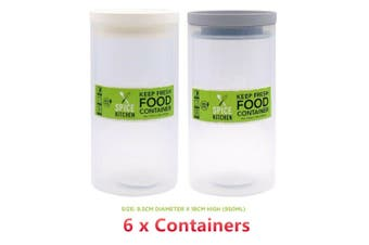 6 x Food Container Canister Jar 950ML Clear Plastic BPA Free Freezer Safe Durable
