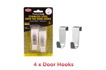 4 x Stainless Steel Over the Door Hook Hanger Coat Compact Room Clothe Holder