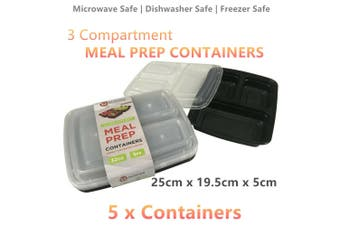 5 x Meal Prep 3 Compartment Food Storage Containers Plastic Microwave Lunch Box