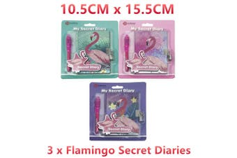 3x Flamingo Secret Diary w Pen Notebook Journal Memo Pad Lock Lockable Key Write