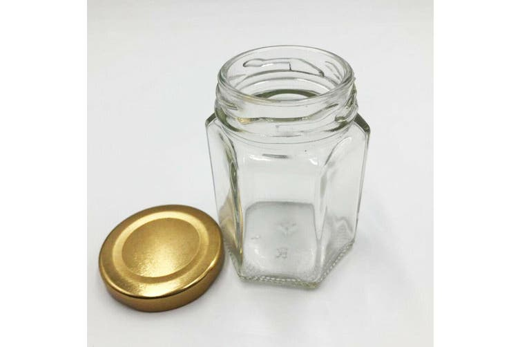 24 x Hexagon Shaped Glass Jar Clear Gold Screw Top Lid Lolly Storage Small 110ML