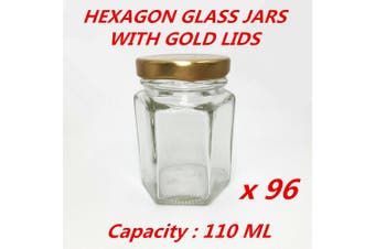 96 x 110ML Hexagon Shaped Clear Gold Screw Lid Lolly Storage Glass Jar Favor Party