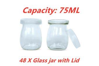 48 x 75ML Glass Jar Pudding Jars Yogurt Milk Parfait w Lid Caps Wedding Party