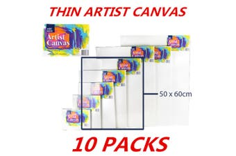 10 x Blank Painting Canvas Artist Stretched White Primer Oil Acrylic Board Frame 5060