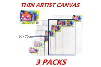 3 x Blank Painting Canvas Artist Stretched White Primer Oil Acrylic Board Frame 6070