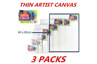 3 x Blank Painting Canvas Artist Stretched White Primer Oil Acrylic Board Frame 6080