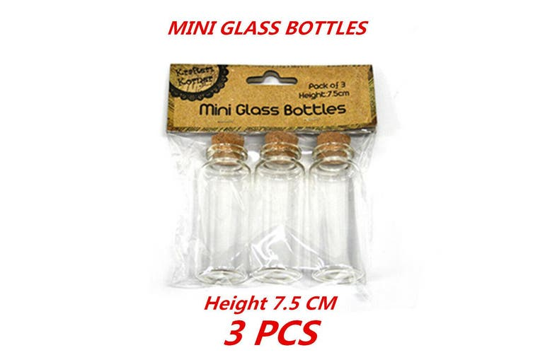 3 x Clear Mini Small Cork Stopper Tiny Glass Vial Jars Containers Bottle Bulk 7.5cm