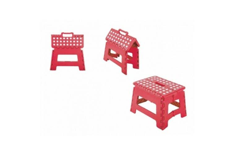Red Polka Dot Foldable Stool Plastic Fold Up Folding Chair Ladder Light Portable