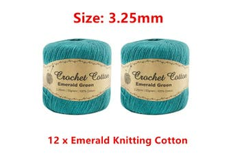 12 x Emerald 3.25mm Crochet Knitting Cotton 50g Crafting String Sewing Scarf Art