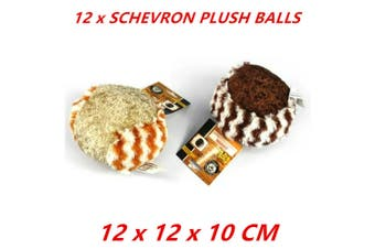 12 x Plush 2-Tone Dog Ball Chevron Chew Toy Stuffed Puppy Soft Cute Fetch Play