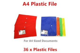36 x A4 Plastic File Document Wallet Paper Organiser Storage Case Folder Pocket