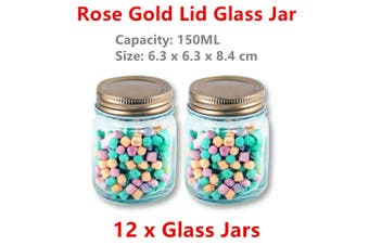 12 x 150ML Glass Jar Rose Gold Lid Food Storage Container Preserving Mason Can