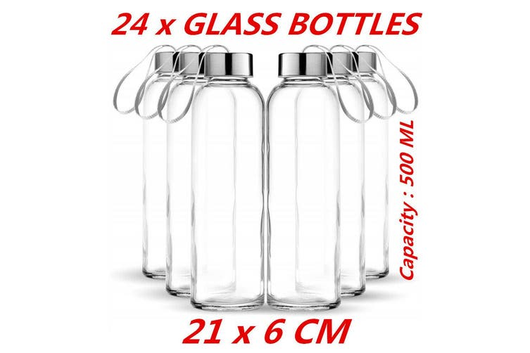 24 x Large Glass Water Sports Bottle Ribbon Handle Juice Beverage Storage 0.5L