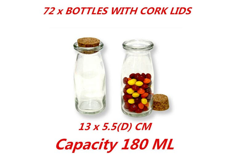 72 X 180ml Small Gl Jars Bottle Milk