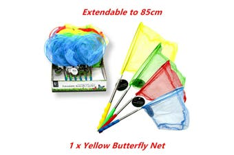 Yellow Extendable Butterfly Catcher Mesh Net Insect Bug Fish 85cm Retractable Kids Toy